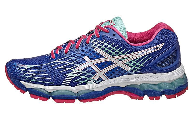 ASICS Gel Nimbus 17 Women s Shoes Blue White Pink 360° View ... 7f85b907a7