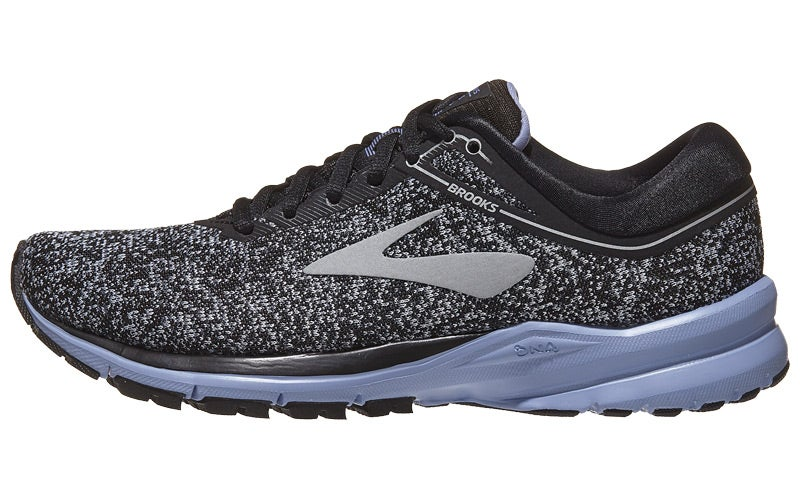 47849e17cca Brooks Launch 5 Women s Shoes Black Silver Thistle 360° View ...