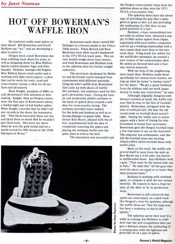 Runners World Jan 73 Blue Ribbon Sports Waffle Development Article