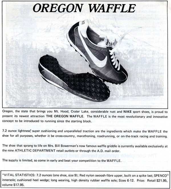 December 73 Runners World ad for the new Nike Waffe Racer