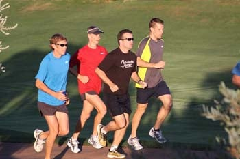 Ryan Hall joining the group on the 5:45 AM run around the golf course.