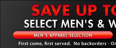 Save up to 50% Off MSRP - Men's Apparel