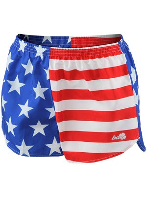 BOA Women's Printed Racer Lo-Rise Run Short US Flag