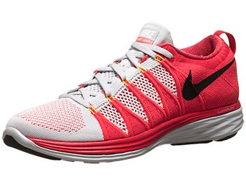 Nike Flyknit Lunar2 Men's Shoes Platinum/Crimson/Red