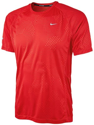 Nike Men's Printed Miler SS Crimson