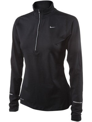 Nike Women's Element Half Zip Black & White