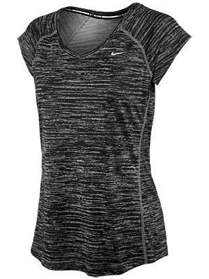 Nike Women's Printed Miler SS V-Neck