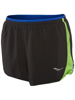 Saucony Women's Run Lux III Short Black w/Acid Green
