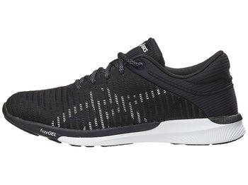16f22393b2bd ASICS FuzeX Rush Adapt Women s Shoes Black White Gre