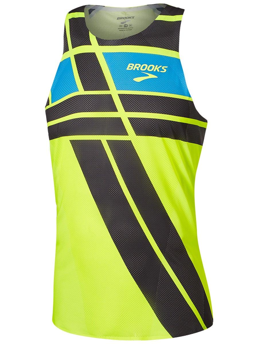 Brooks Distance Mens Running Singlet White Activewear Tops Fitness, Running & Yoga