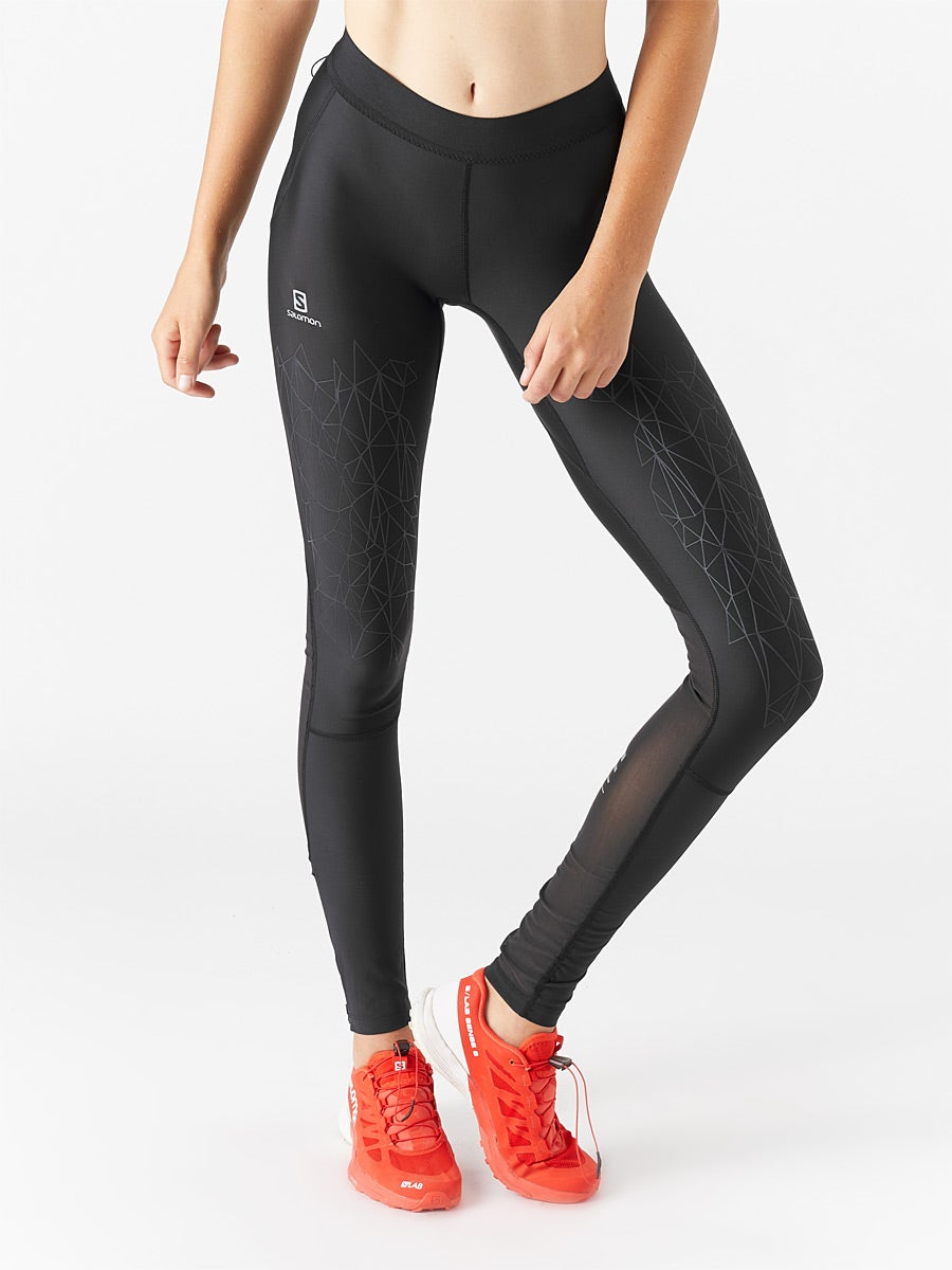 Black Salomon Intensity Womens Long Running Tights